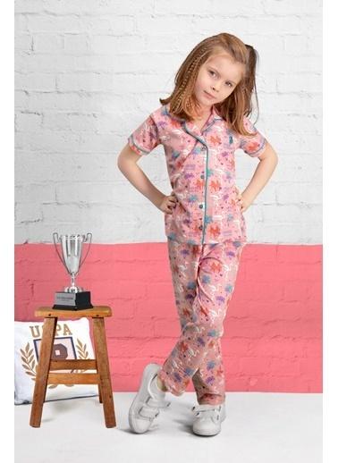 U.S. Polo Assn. U.S. Polo Assn Lisanslı Lacivert Kız Çocuk Pijama Takımı Pembe
